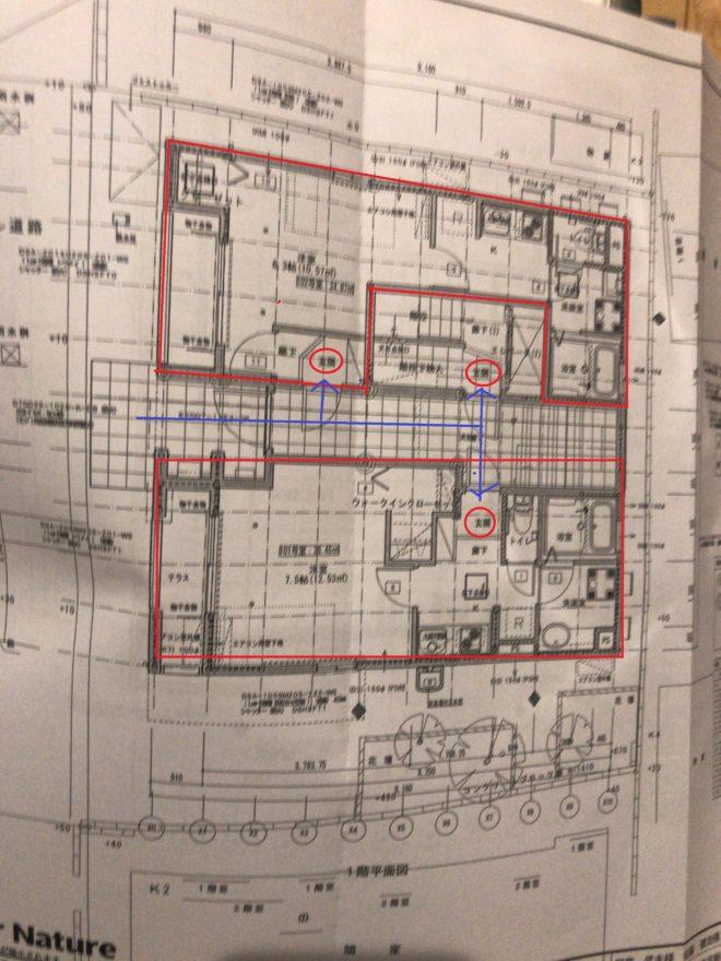 ダイワハウス賃貸併用住宅の間取り1階